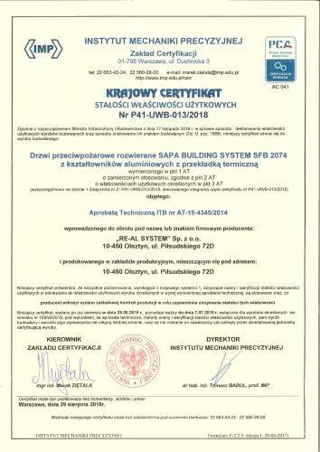Certyfikat P41-UWB-013/2018